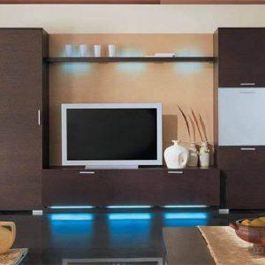 Ультрасовременная горка в гостиную в стиле модерн с подсветкой