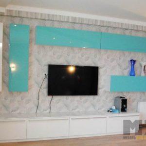 Бело-бирюзовая глянцевая горка в гостиную в современном стиле