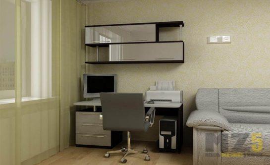 Компьютерный стол с минималистичным глянцевым навесным шкафчиком