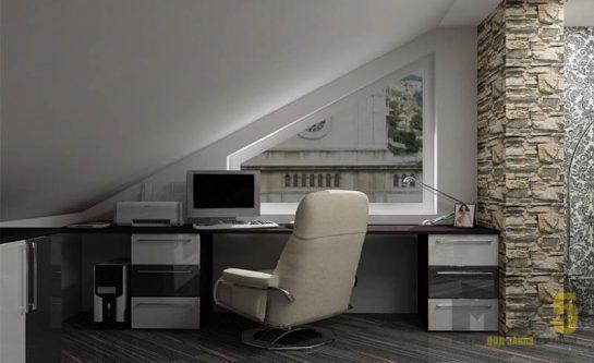 Минималистичный компьютерный стол с глянцевыми приставными тумбами