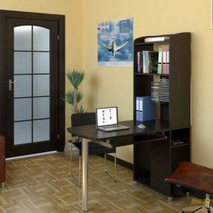 Встроенный в узкий стеллаж черный компьютерный стол