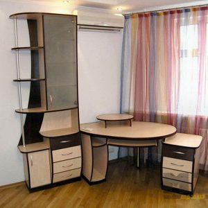 Круглый компьютерный стол с приставной тумбой и шкафом-пеналом