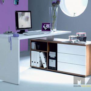 Минималистичный компьютерный стол строгих форм с широкой тумбой