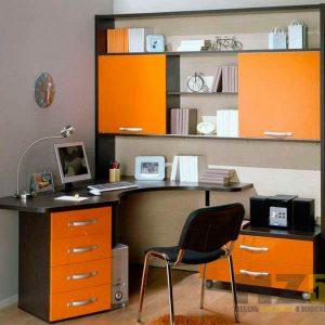 Угловой компьютерный стол со стеллажом и приставными тумбами черно-оранжевого цвета