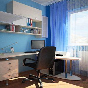 Бежевый угловой компьютерный стол с навесными шкафчиками
