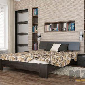 Двуспальная кровать в стиле минимализм на ножках в темно-сером цвете