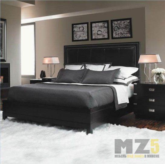 Двуспальная кровать из МДФ черного цвета с высоким изголовьем