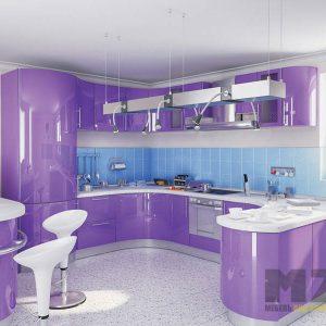 Радиусная глянцевая п-образная кухня фиолетового цвета