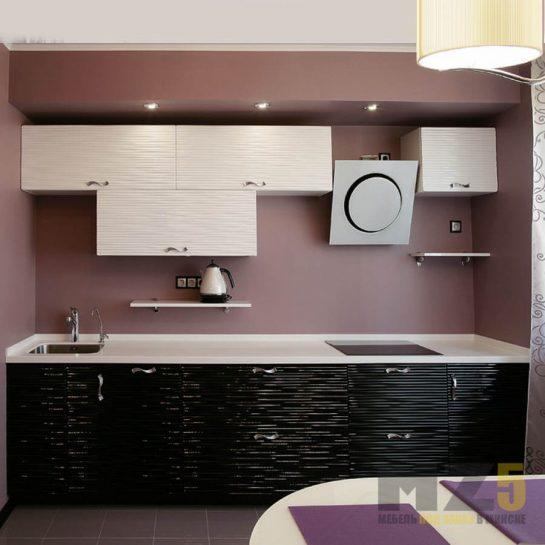 Прямая кухня в стиле минимализм с 3д фасадами черно-белого цвета