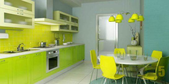 Яркая салатовая линейная кухня в стиле лофт