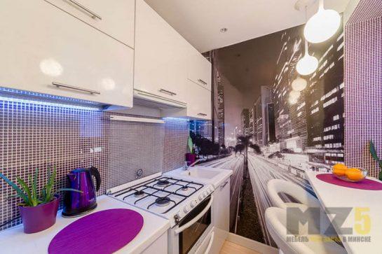 Современная узкая кухня с глянцевыми фасадами