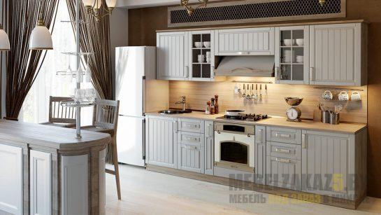 Кухня в классическом стиле серого цвета линейной конфигурации
