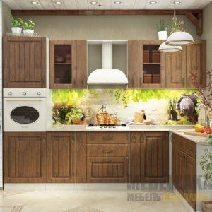 Маленькая угловая кухня из шпона с белой столешницей