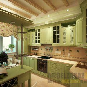 Классическая угловая кухня оливкового цвета