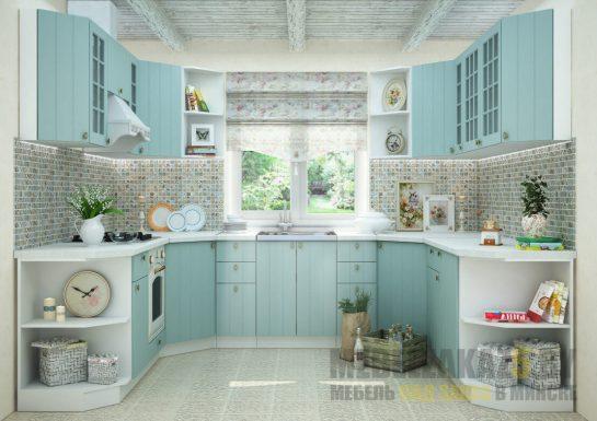 Современная п-образная кухня мягких форм бело-бирюзового цвета