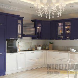 Строгая современная двухцветная угловая кухня