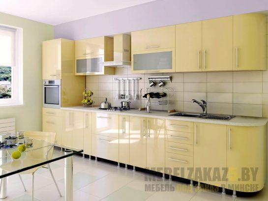 Линейная желтая кухня со встроенной техникой