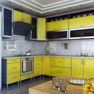 Яркая угловая кухня черно-желтого цвета