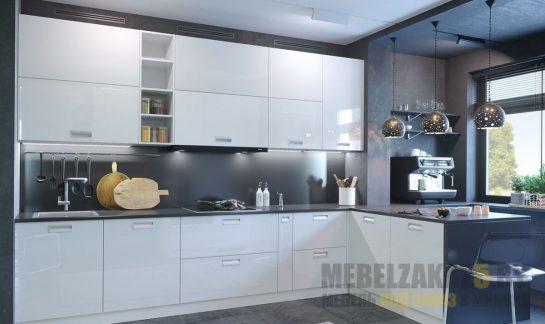 Угловая минималистичная кухня с белыми фасадами