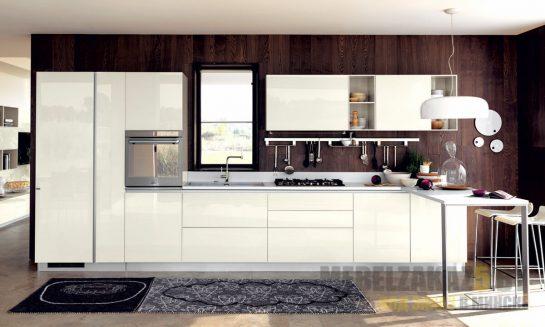 Глянцевая прямая кухня в стиле минимализм