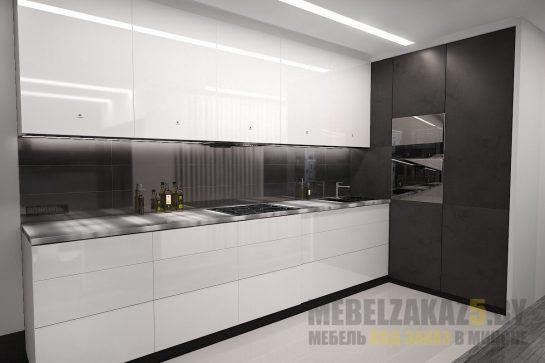 Угловая глянцево-матовая скрытая кухня