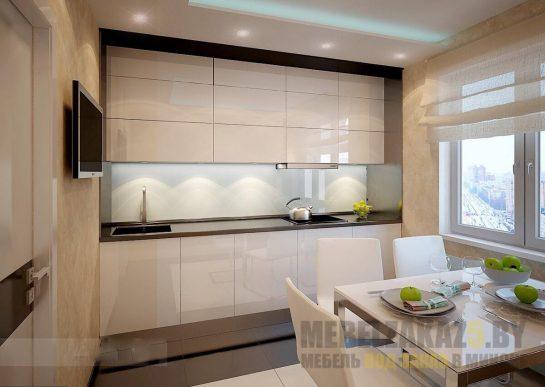 Маленькая встроенная глянцевая кухня белого цвета