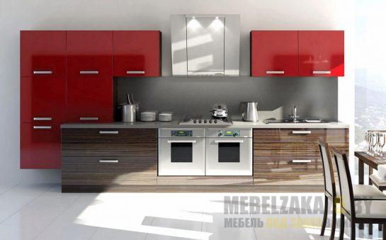 Линейная глянцевая кухня в стиле минимализм из МДФ и шпона
