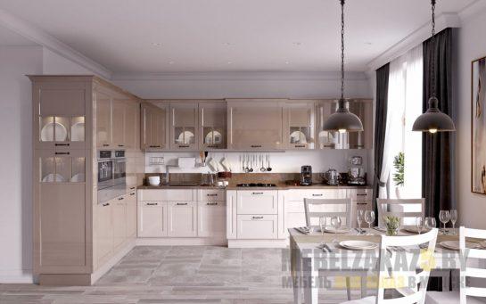 Большая угловая кухня прованс кремового цвета