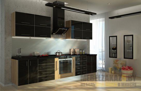 Пленочная кухня со встроенной техникой прямой конфигурации