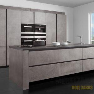 Матовая скрытая кухня в стиле минимализм с островом