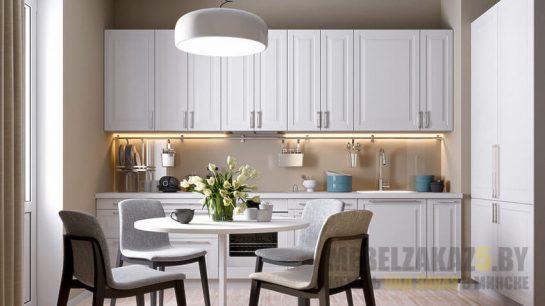 Классическая белая кухня из рамочного МДФ