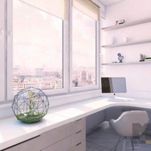 Современный угловой компьютерный стол белого цвета с тумбой на балкон