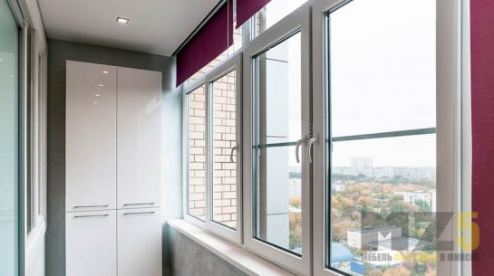 Современный распашной шкаф на балкон с глянцевыми фасадами