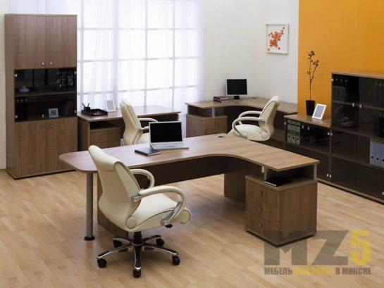 Набор офисной мебели из ДСП со стеллажом и распашным шкафом
