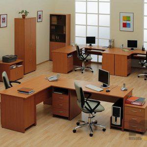 Набор офисной мебели из МДФ для сотрудников цвет дерева