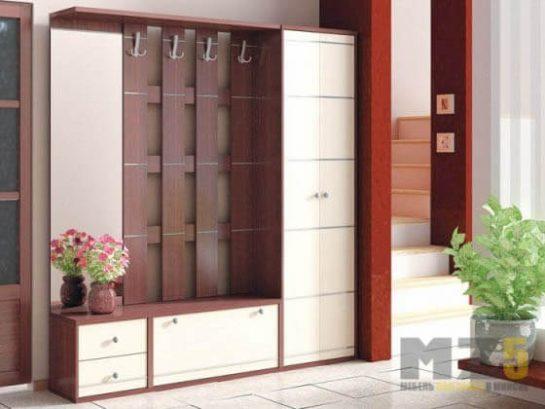 Стильная мебель в прихожую в красно-белом цвете
