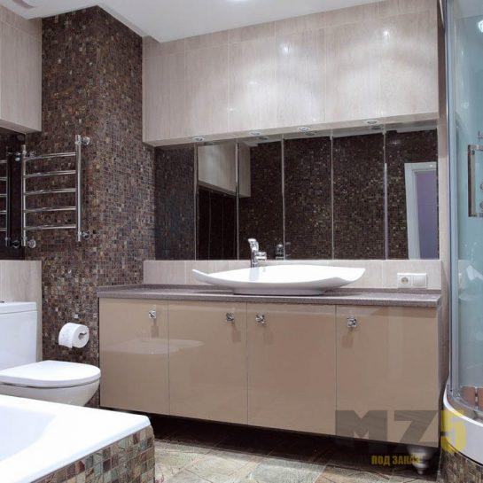 Глянцевая тумба в ванную бежевого цвета со столешницей из искусственного камня