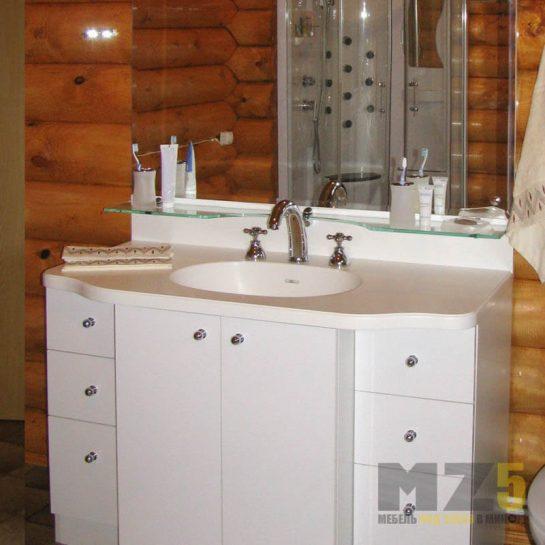 Функциональная глянцевая тумба под раковину для ванной комнаты