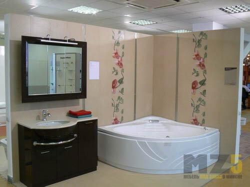 Ультрасовременный глянцевый комплект мебели в ванную комнату в черном цвете