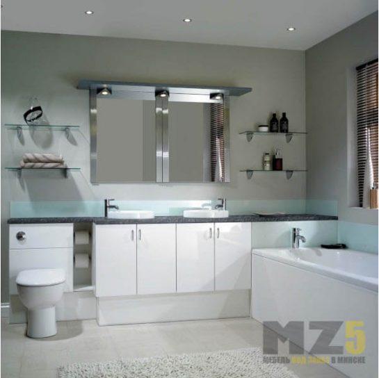 Набор белой глянцевой мебели в ванную со столешницей из искусственного камня