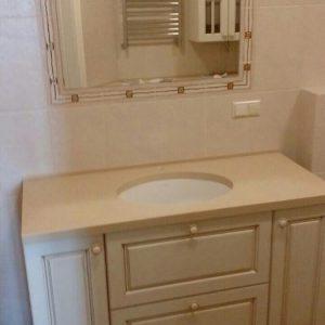 Бежевая тумба для ванной под раковину с ящиками