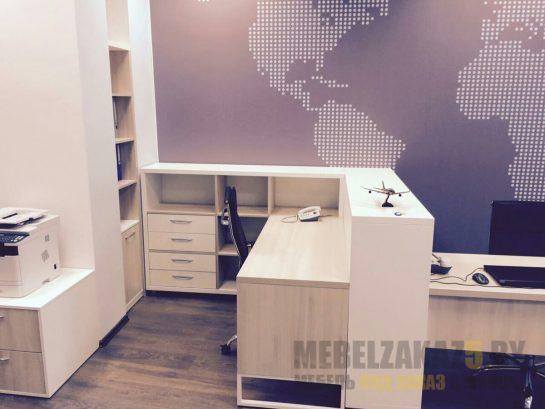 Набор современной офисной мебели с рабочей зоной и стеллажом