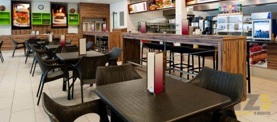 Набор мебели для ресторанов темно-коричневого цвета