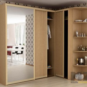 Комбинированный шкаф-купе с зеркалом из дерева