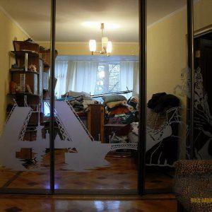 Шкаф-купе с зеркальными фасадами и пескоструйным рисунком