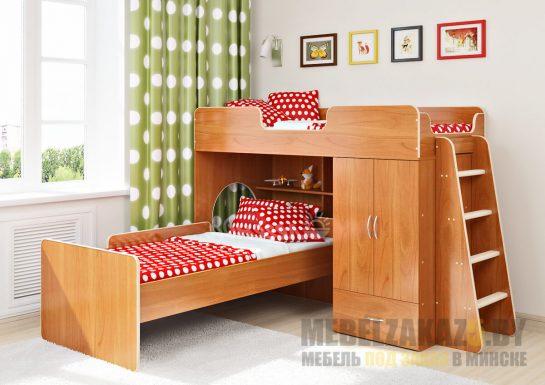 Двухэтажная кровать для детской комнаты из массива со шкафчиком