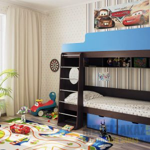 Двухуровневая детская кровать из массива с бортами