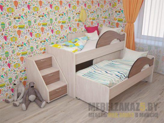 Выдвижная кровать в детскую ящиками для хранения