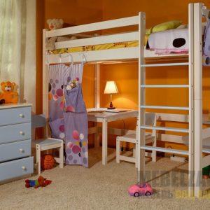 Детская кровать-чердак из массива дерева