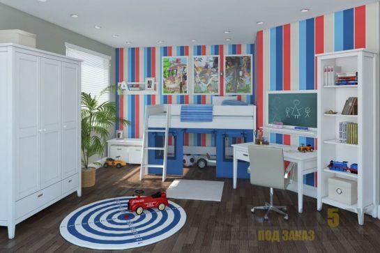 Кровать-чердак для детей от 3 лет в бело-синем цвете